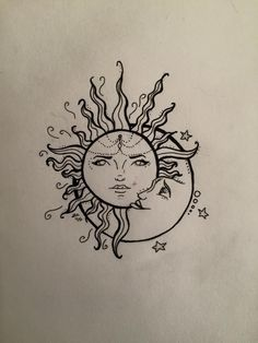 "For the ""crown"" on the sun's head moon star tattoo, sun tatt Sun Tattoos, Body Art Tattoos, Small Tattoos, Tatoos, Celtic Tattoos, Sleeve Tattoos, Hippie Sun Tattoo, Moon Star Tattoo, Sun Drawing"