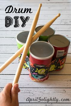 Summer Jams & DIY Drums - made out of Pringles® Cans Drum Lessons For Kids, Drums For Kids, Projects For Kids, Diy For Kids, Instrument Craft, Musical Instruments, Crafts To Do, Crafts For Kids, Homemade Drum