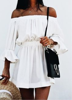 Off the shoulder mini dress.