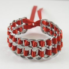 Tabsolute: day 84 Red stacked weave pop tab bracelet