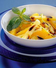 Ananas e arancia con zucchero di canna e glassa
