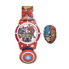 Marvel Comics Captain America & Iron Man Kids' Digital Charm Watch, Multicolor