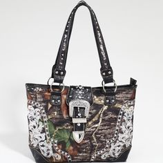 Mossy Oak Brand Studded Camouflage Tote Handbag w/ Rhinestone Buckle - Camo & Black  $52.99  www.wantedwardrobe.com  SO DAMN CUTE!!!