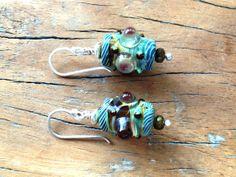 Voodoo Magic Tribal Lampglass earrings, artisan earrings sterling silver earrings, earthy bohemian jewelry.