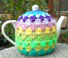 Retro style crochet tea cosy