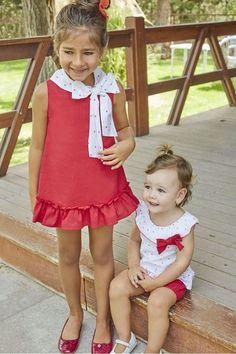 e71ebfff0 DADATI Vestido rojo niña sin mangas con estampado de corazones en el cuello  y en lazada