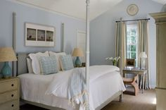 Suzie: Phoebe Howard - Cream & blue bedroom design with gray faux bamboo canopy bed, baby blue ...
