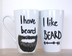 Funny Mug Set-Wife Mug-Husband Mug-Unique Valentines Day Gift- Unique Couple Gift-Beard Gifts- Funny Beard Mug- Beard Lovers Gift