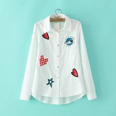 BRAND Design ZA European and American women early spring new fashion cartoon embroidered long-sleeved shirt #Affiliate