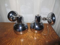 Vintage Pair Retro Mid Century Chrome Ball Wall by tessiesdelight