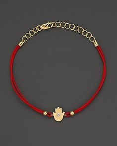 Meira T Diamond And 14K Yellow Gold Hamsa Hand Red String Bracelet | Bloomingdale's