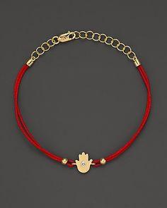 Meira T Diamond And 14K Yellow Gold Hamsa Hand Red String Bracelet