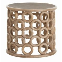 Kamal Hand Carved Wood/Glass Side Table with Natural/Clear Glass.  too modern for you?