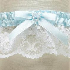 White Lace Something Blue Wedding Garter with Pearl Heart
