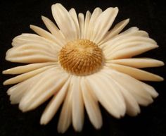 carved bakelite daisy pin