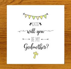 Personalised Will You Be My Godmother? Card (Neutrals)