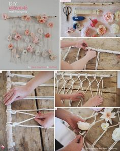 Sweet macrame idea per the wedding decoration with flowers. The post DIY Macramé Wa . - Sweet macrame idea per the wedding decoration with flowers. The post DIY Macramé Wall Hanging appe - Macrame Projects, Diy Projects, Diy Macrame Wall Hanging, Hanging Flower Wall, Macrame Mirror, Macrame Curtain, Flower Wall Decor, Mur Diy, Fleurs Diy