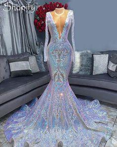 Sheer O-neck Long Sleeve Sparkly Sequin Mermaid Prom Dress - Black / 10