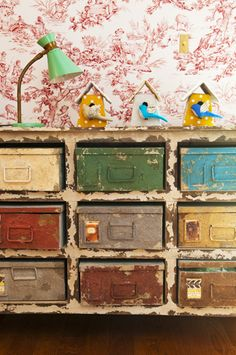 Rustic old and colorful with paint credenza