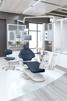 A-dec 500 dental chair in Diplomat Blue with A-dec 500 dental delivery system.