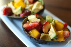 I just made a plain avocado, strawberry, mango salad- nothing else and it was incredible. I googled to see if this had been discovered and lo and behold- a dressing to enhance it!!