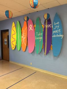 These surfboards were created to honor the memory leaders who served in VBS! What a lovely tribute to remember the lives of those who have served the children of the church and community. Vbs Themes, Ocean Themes, Classroom Themes, Beach Themes, Toddler Sunday School, Submerged Vbs, Bible School Crafts, Vbs 2016, Vbs Crafts