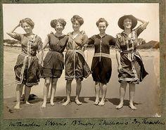 Women in bathing suits on Collaroy Beach in 1908