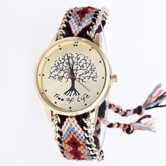 Fashion Tree of Life Gold Dial Ribbon Chain Quartz Wristwatches Wrist Watch Clock Gift for Women Female Girls