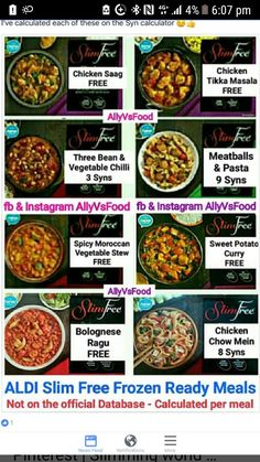 Aldi slim free syn values astuce recette minceur girl world world recipes world snacks Slimming World Ready Meals, Aldi Slimming World Syns, Slimming World Survival, Slimming World Free Foods, Slimming World Syn Values, Slimming World Recipes, Iceland Slimming World, Syn Free Food, Sliming World