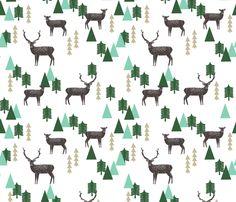 Reindeer Geo Forest - White by Andrea Lauren fabric by andrea_lauren on Spoonflower - custom fabric
