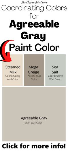 Check out these color palettes for Agreeable Gray, by Sherwin Williams. This perfect griege paint color will go in a living room, bedroom, bathroom or kitchen! Find out what colors to put with it here! #paintcolorideas #sherwinwilliamsagreeablegray
