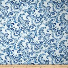 Swavelle/Millcreek Tortoni Slub Sea from Blue And White Fabric, French Country Decorating, Country French, Paisley Fabric, Upholstered Furniture, Accent Pillows, Window Treatments, Fabric Design, Quilt Patterns
