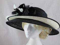 Failsworth Millinery Double Brim Events Hat in Black   Ivory. Diy HatWedding  HatsFascinatorsBridal Headdress aeb8b955978d