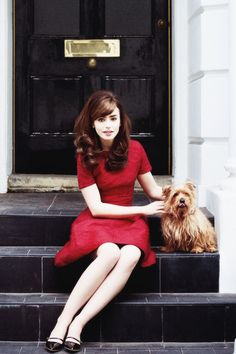lily collins- nice red dress