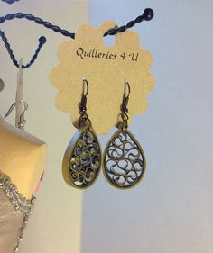 Paper Quilled Gold and Silver Earrings Metallic Dangle Stud Clip-on or Pierced