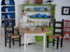 Vintage Tynietoy Doll House Miniature Wood Kitchen Table 1920s