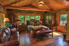 Home | Log Cabin Homes..so cool with rock inside