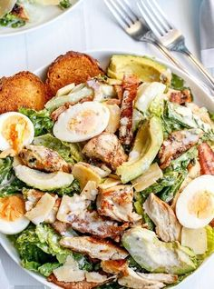 Cafe Delites Skinny Chicken and Avocado Caesar Salad | World Recipe Collection