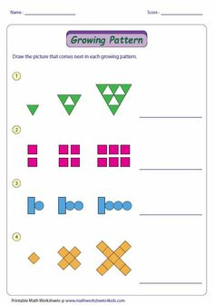 This activity helps analyze how growing and repeating patterns are generated, and also has the student continue the pattern. This activity helps analyze how 2nd Grade Math Worksheets, Algebra Activities, Printable Math Worksheets, First Grade Math, Teaching Math, Numeracy, Grade 2 Patterning Activities, Teaching Ideas, Teaching Patterns