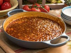 Get Peach, Bourbon and Bacon Baked Beans Recipe from Food Network