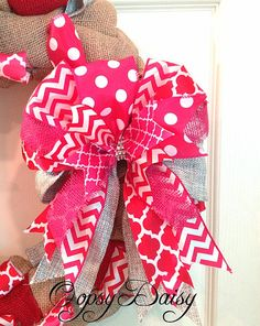 burlap Valentine's day wreath bow