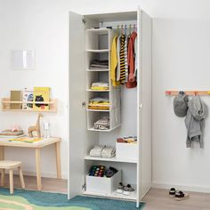 IKEA - GODISHUS, Wardrobe, white, You can position the shelf and clothes rail in two different ways – clothes rail at the top and shelf down below, or both together at the top of the wardrobe. Deep enough to hold standard-sized adult hangers. Ikea Kids Wardrobe, Kids Wardrobe Storage, Wardrobe Organisation, Ikea Childrens Wardrobe, Vinyl Record Storage, Lp Storage, Armoire Ikea, Ikea Kids Room, Pallet Tv Stands