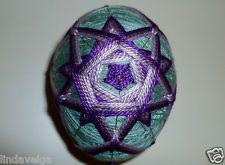 Temari Egg created using Shades of Purple over Sage Green