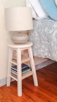 repurpose an old bar stool into a nightstand