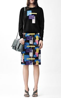 Crewneck Jumper With Abstract Lace Motif by Christopher Kane for Preorder on Moda Operandi