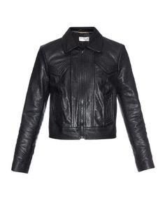 Topstitch-detail leather jacket | Saint Laurent | MATCHESFASHION.COM
