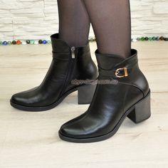 Ботинки демисезонные женские на устойчивом каблуке, натуральная черная кожа bab437225a0