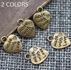 Heart Vintage Charms Silver Bronze Plated Pendants Necklace Bracelet JWBD051 #Unbranded