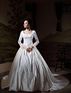 Ball Gown Long Sleeves Cathedral Train Luxury Wedding Dress ... – USD $ 299.99