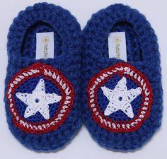 Captain America Inspired infant slippers